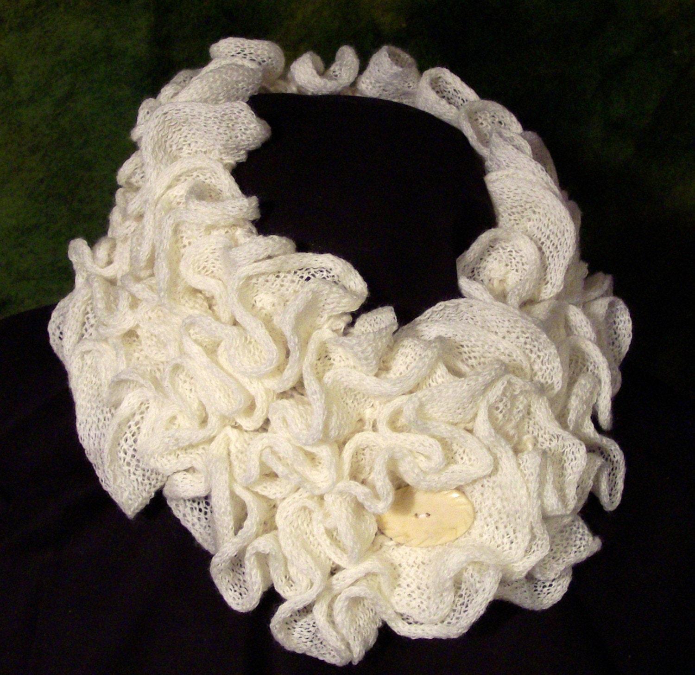 Ruffled Cream neckwarmer scarflette