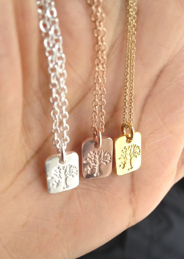 Tree of Life Necklace Gold Tree of Life Necklace Silver Tree of Life Necklace Rose Gold Tree of Life Necklace  Mothers Day Gift Dog Tag