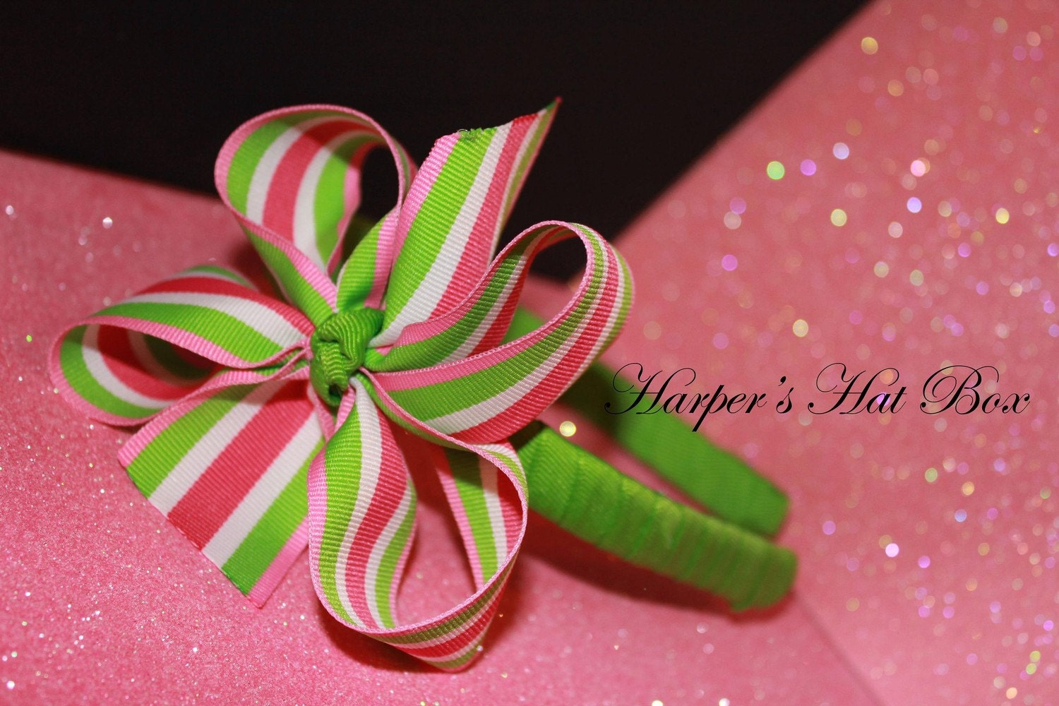 Preppy Pink, Green and White Boutique Bow Ribbon Headband