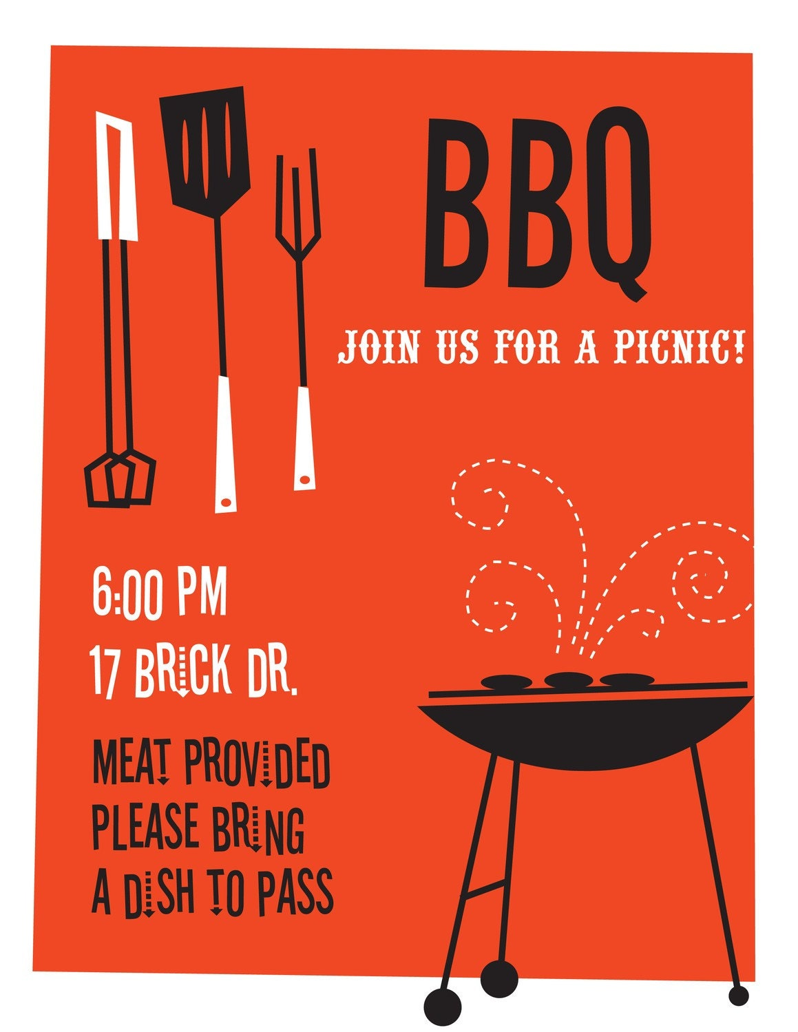 BBQ Picnic Cookout Custom Printable Party Invitation - SBVintageAndDesign