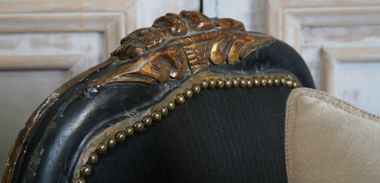 vintage antique brass nailheads EBONY banquette