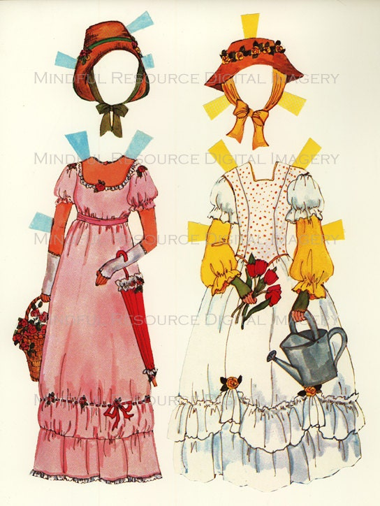 Printable Paperdolls Jane Austen Era Vintage Regency Era Fashion Paper Dolls  12 Dress Ensembles Digital Download Sheets Scanned Originals - mindfulresource