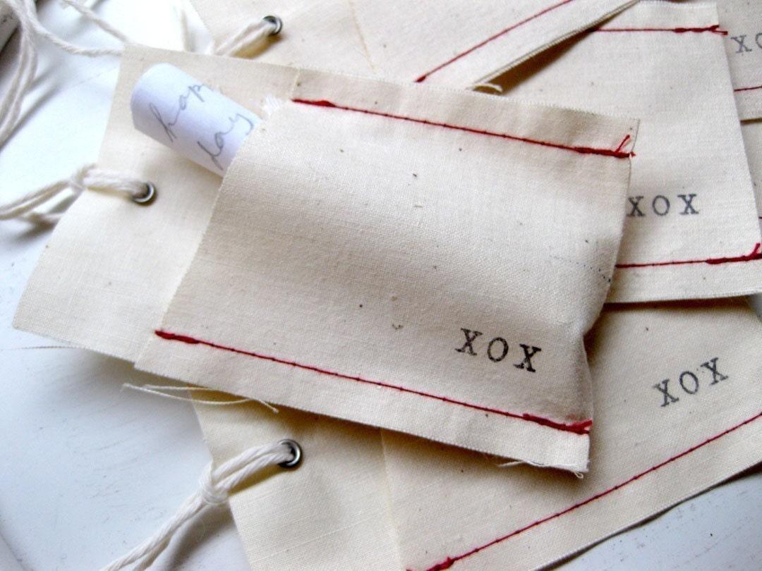 Set of 6 Fabric Pocket Tags - XOX (Hugs and Kisses)