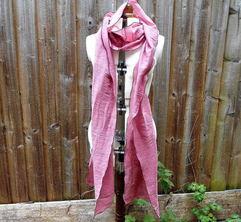 Extra Long Clover Pink Cotton Scarf Long Upcycled Cotton Scarf