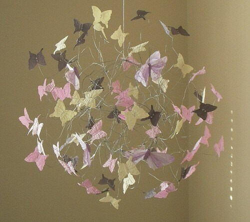 Butterfly Mobile in Grey,Creme and Pink with Three Lilac Feathered Butterflies