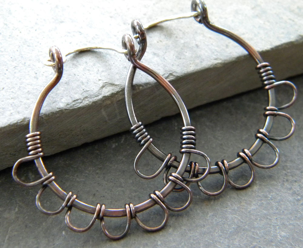 earrings. pure copper wire wrapped hoops, petals, sterling silver