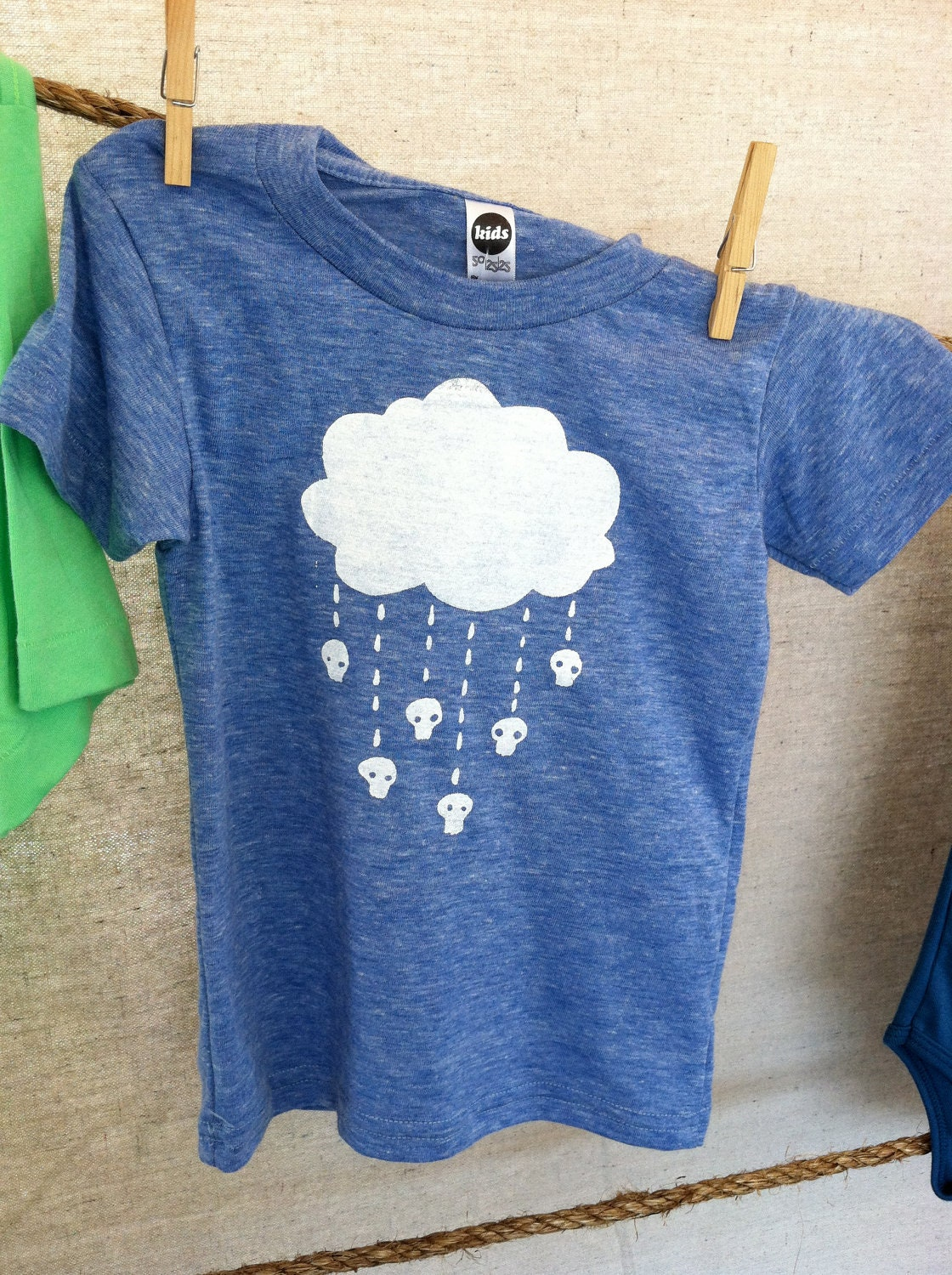 Raining Skulls Youth Tee  2T  4T  6T (5 color choices) - holdfastprintworks
