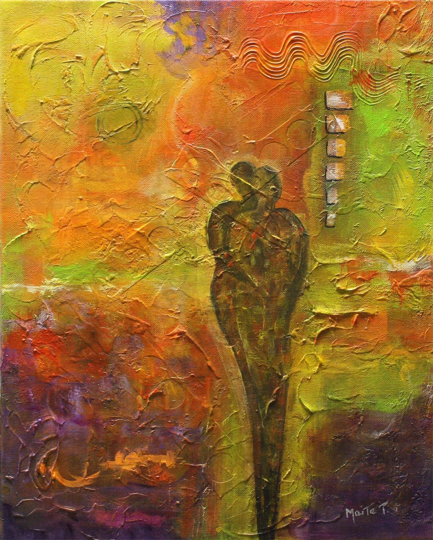 "Original Art  Painting Figures  Abrstract Acrylic  Modern ""partner"" - By Maite - artbymaite"
