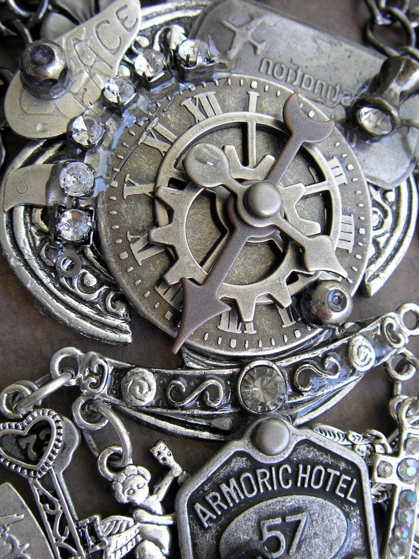 Royal Armor Necklace, Steampunk, Romantic by Joan Kettell, OOAK
