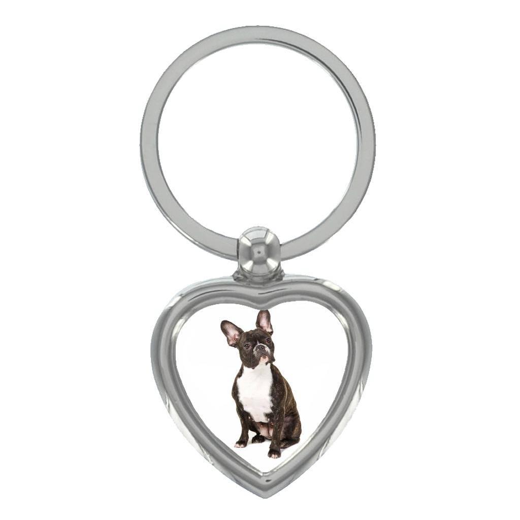 French Bulldog Image Heart Shaped Keyring in Gift Box