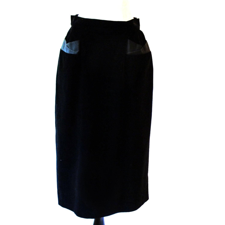 vintage black skirt 1950s pencil skirt 50s by