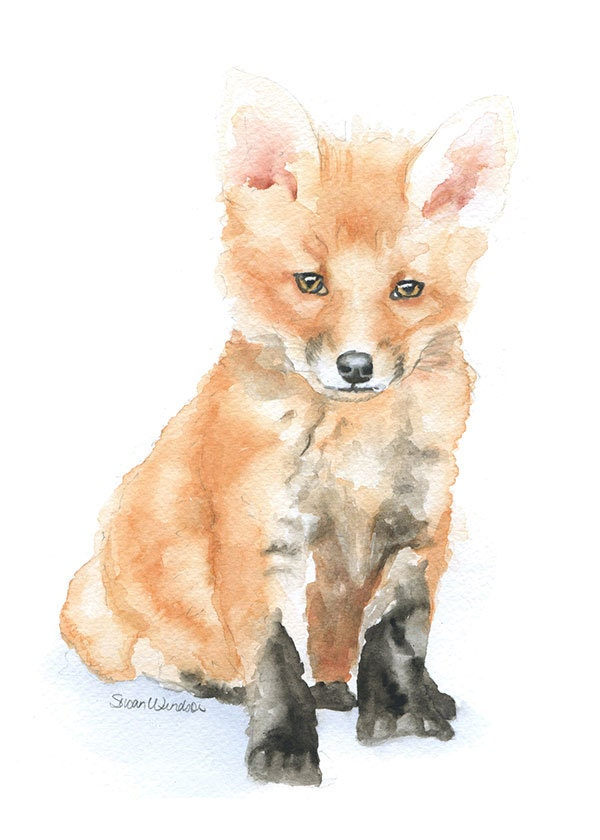 Baby Fox Watercolor Painting 5 x 7 Fine Art Giclee Reproduction