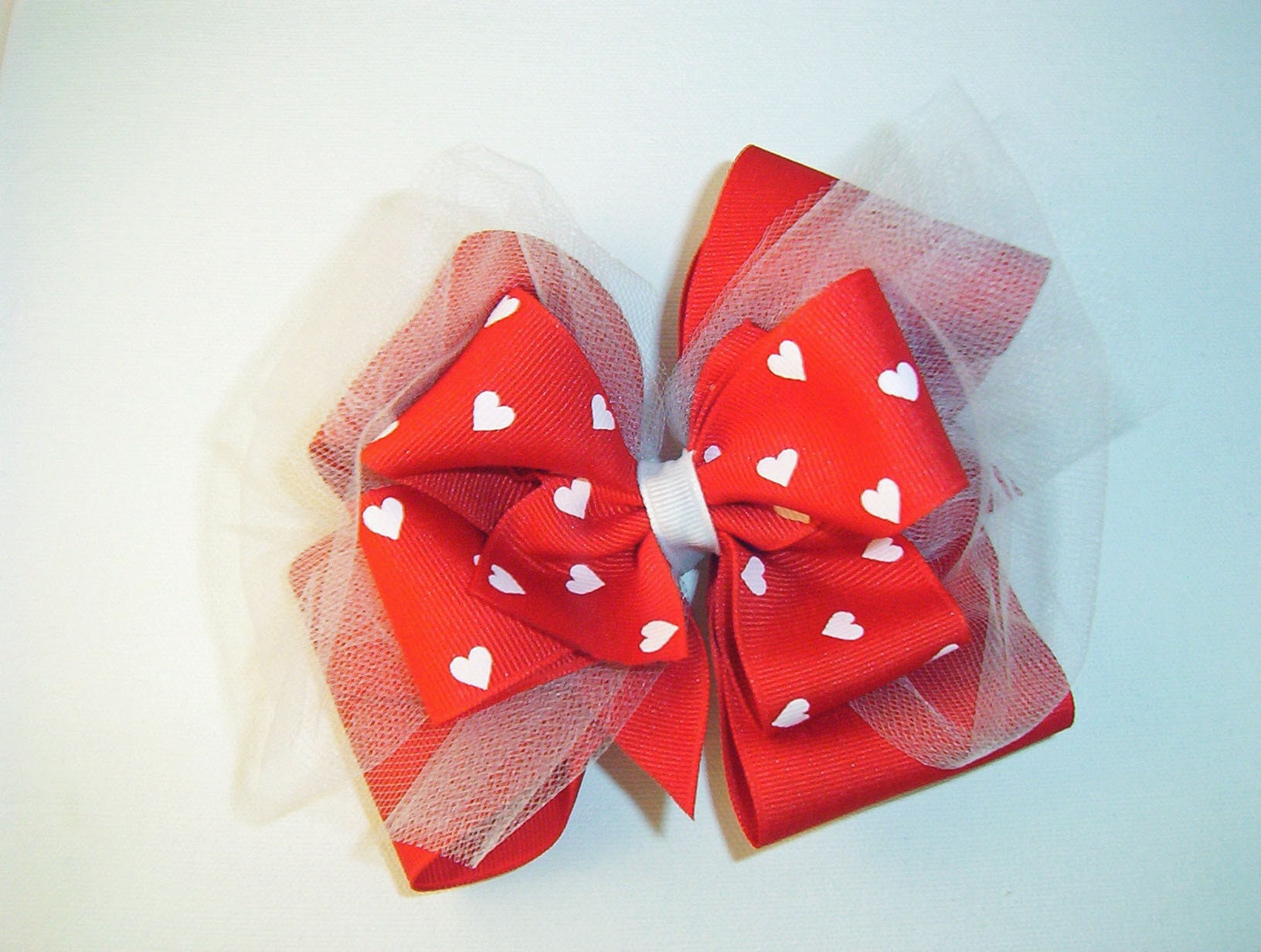 Traditional Valentine Show Bow Red with white hearts