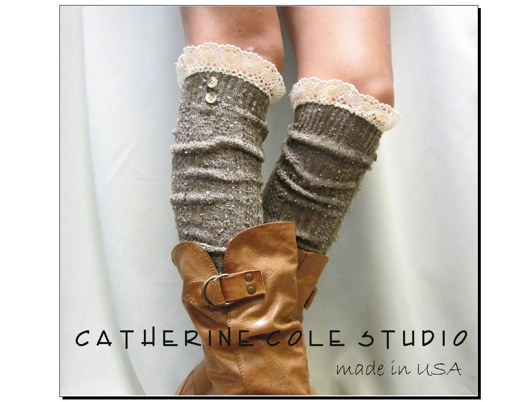 BROWN Nordic Lace Boot Sock -Something special for your tall boots tweed cable knit long over the knee socks w/ 2 buttons, Catherine Cole