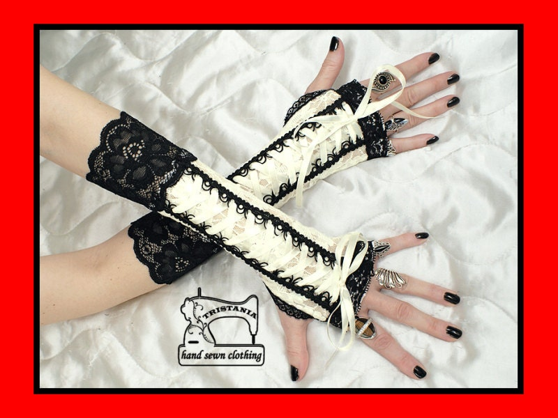 gothic cyber goth gloves arm warmers fingerless cuff harajuku queen of darkness lolita victorian steampunk corset style 0395