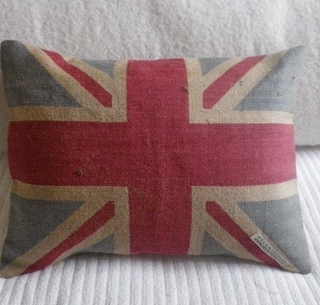 hand printed rustic union jack flag cushion