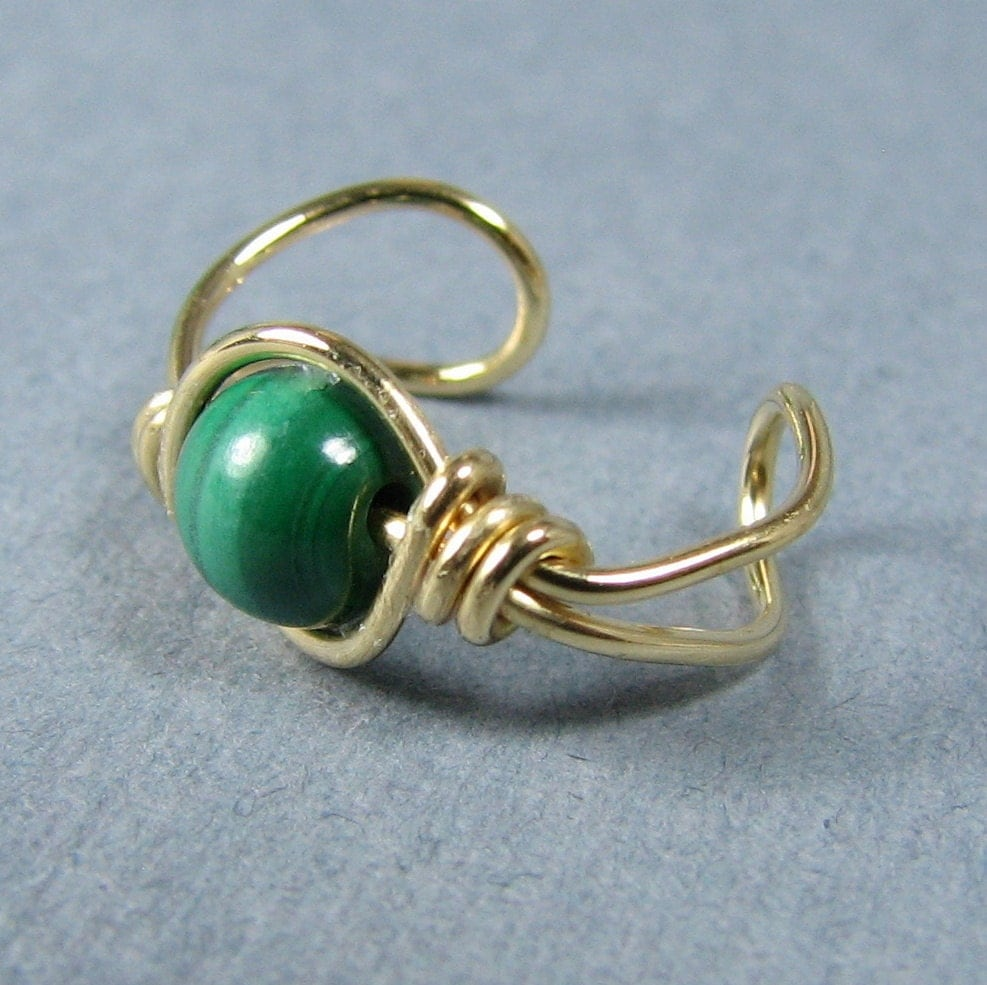 14k gold filled Ear Cuff Malachite Green