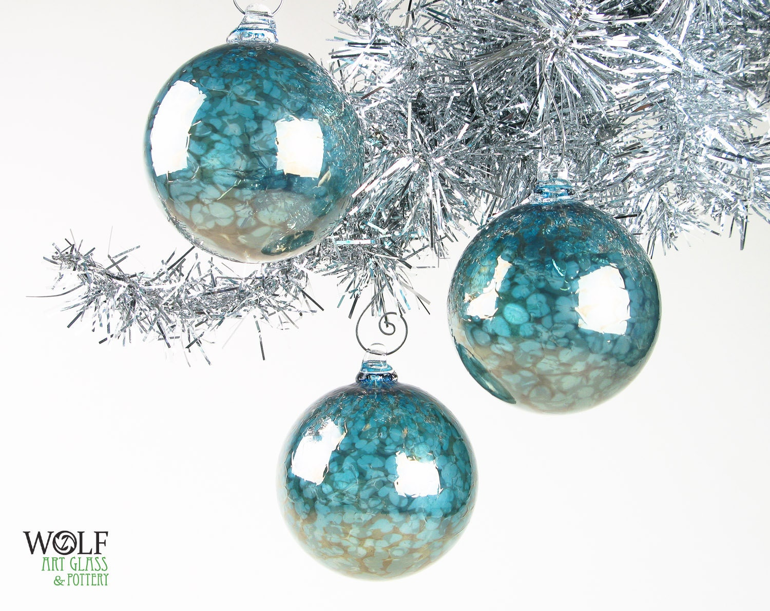 Hand Blown Glass Christmas Tree Ornaments : Blown glass ornament suncatcher christmas tree by wolfartglass