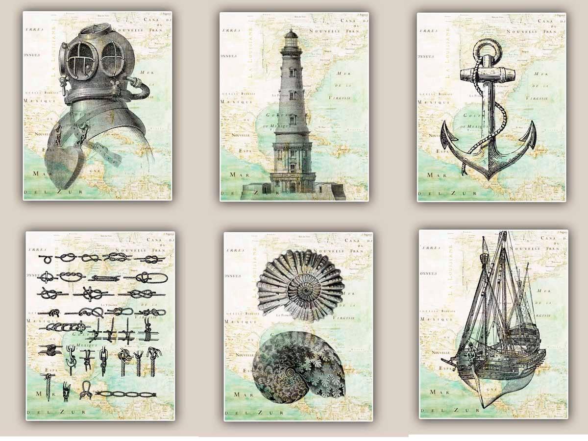 Nautical art Prints antique map East Coast America by PrintLand
