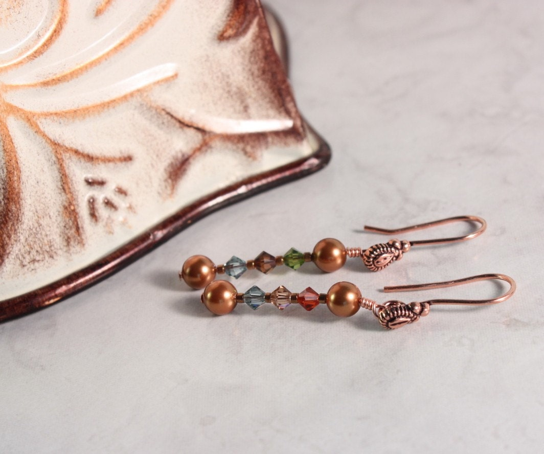 Copper Pearl and Fall JewelTone Crystal by abacusbeadcreations