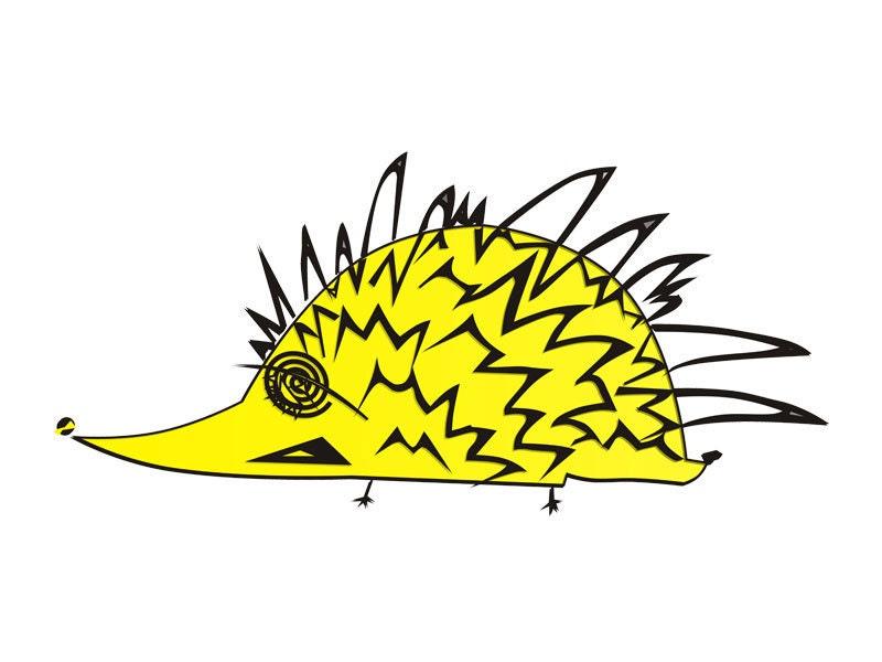 Hedgehog  Art print (A4) - Yellow hedgehog - Limited edition - Free shipping - 99heads