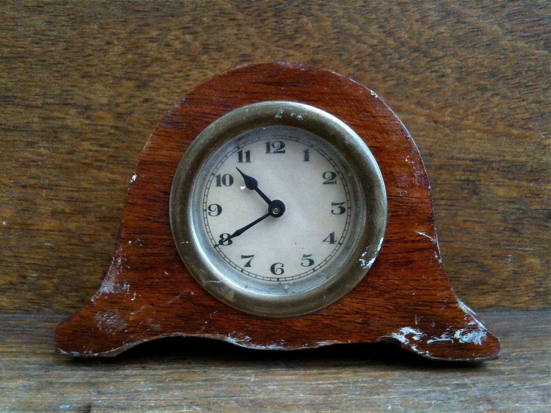 Antique horloge morceau anglais petit manteau de bois vers de 1910 / English Shop