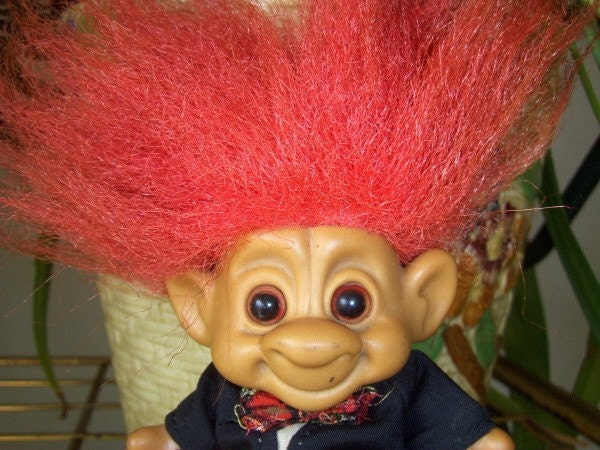 Vintage Troll Doll Forest Troll in Kilt Costume. From VintageFairRetroRare