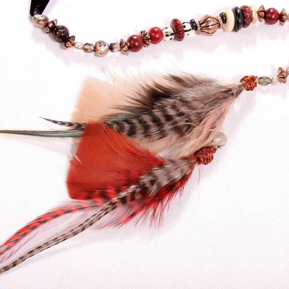 Feather Hair Extension Clip In - Wild One, long beaded hair barette grizzly feather red copper warm tones Pirate hairpiece Hippie - BlackLodgeJewelry