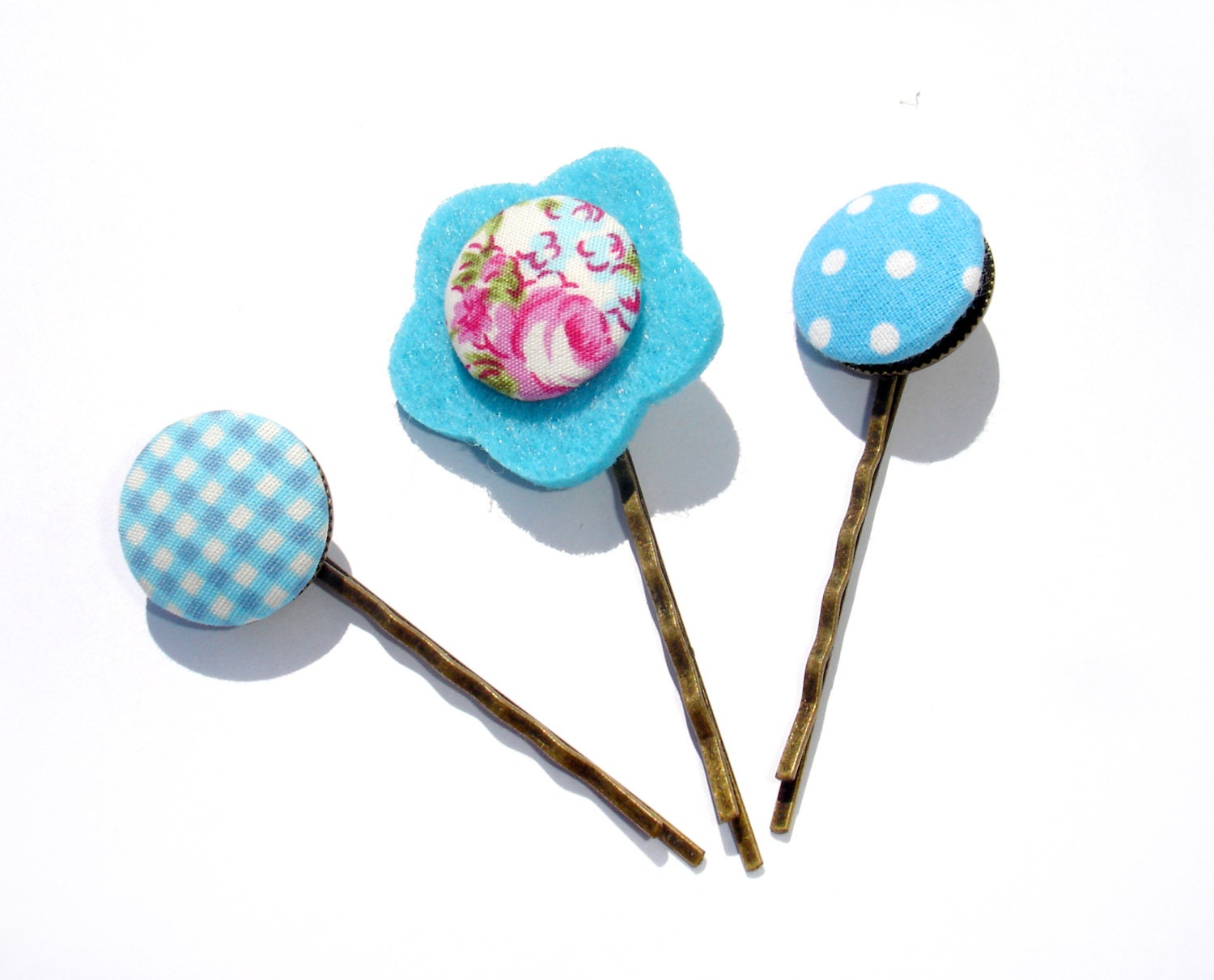 Blue Hair Pin // Handmade Fabric buttons hair clips //  Set of 3 // Polka Dots // Summer Hairpins set - ScrapCati