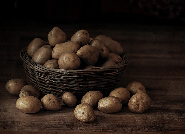 Kitchen Art Print Kitchen Decor Food Photography Still Life Photo Print  Kitchen Wall Art Vintage Food Art Potatoes Brown Art For Kitchen - IonAnthosPhotography