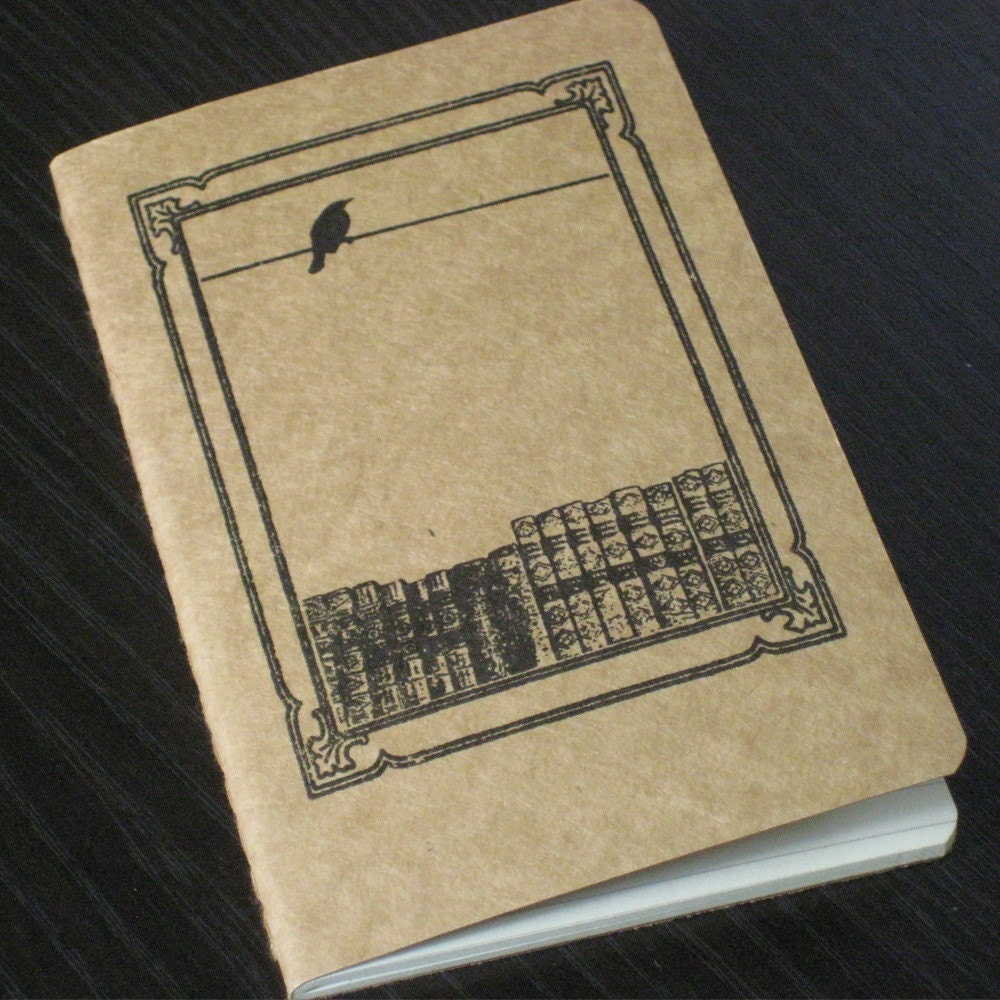 Bird and Books - Gocco Screen-Printed Lined Notebook