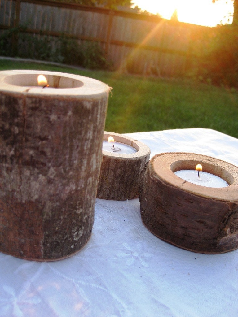 Set of Three Tea Lights - From a Fallen Tree