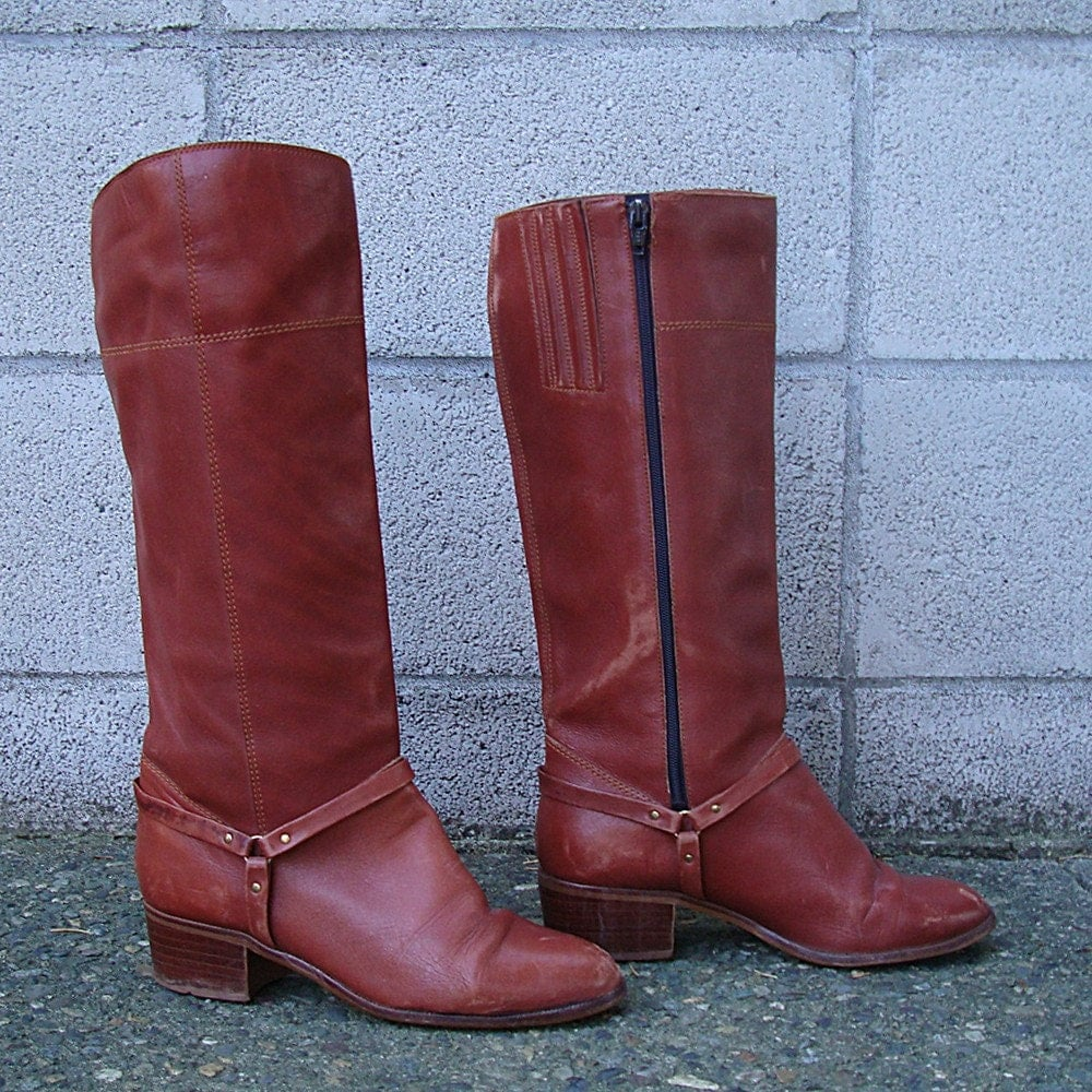 Vintage 1970s Saddle Brown Campus Leather Riding Boots 7 1/2