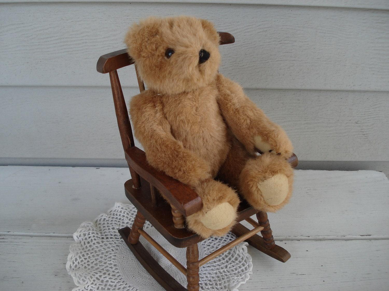 Vintage Brown Teddy Bear In Wood Rocking Chair By
