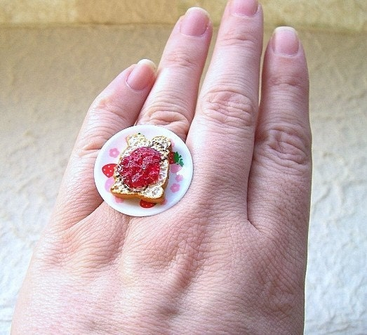 Kawaii Cute Japanese Ring - Strawberry Jam On Toast