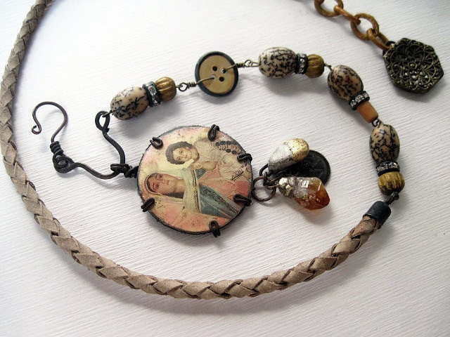 Earth Mother. Rustic Gypsy Victorian Tribal Virgin Mary Necklace.