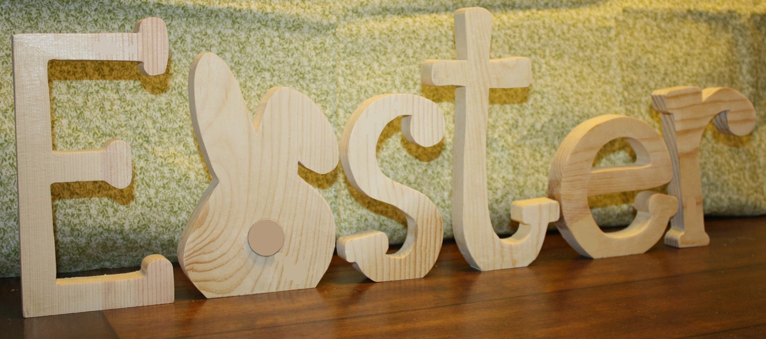 """UNFINISHED  Easter wood letters with Bunny as the """"A""""."""