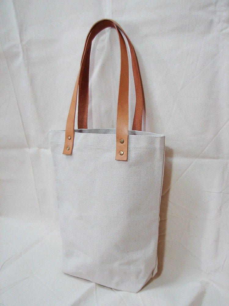 Leathinity - Blank Original / Black Canvas Tote Bag w/ Genuine Leather Handles - Eco Friendly