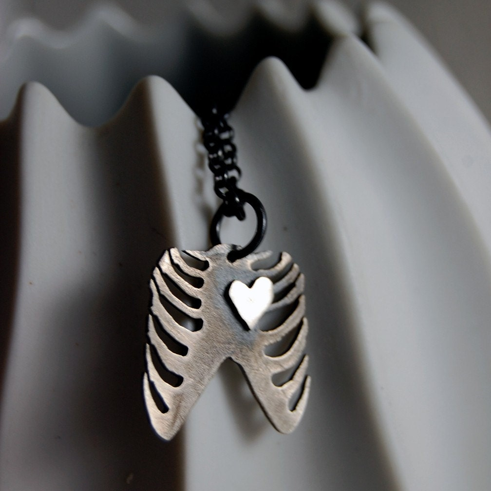rib Cage with Heart Silver Necklace - Ready to Ship - by Markhed