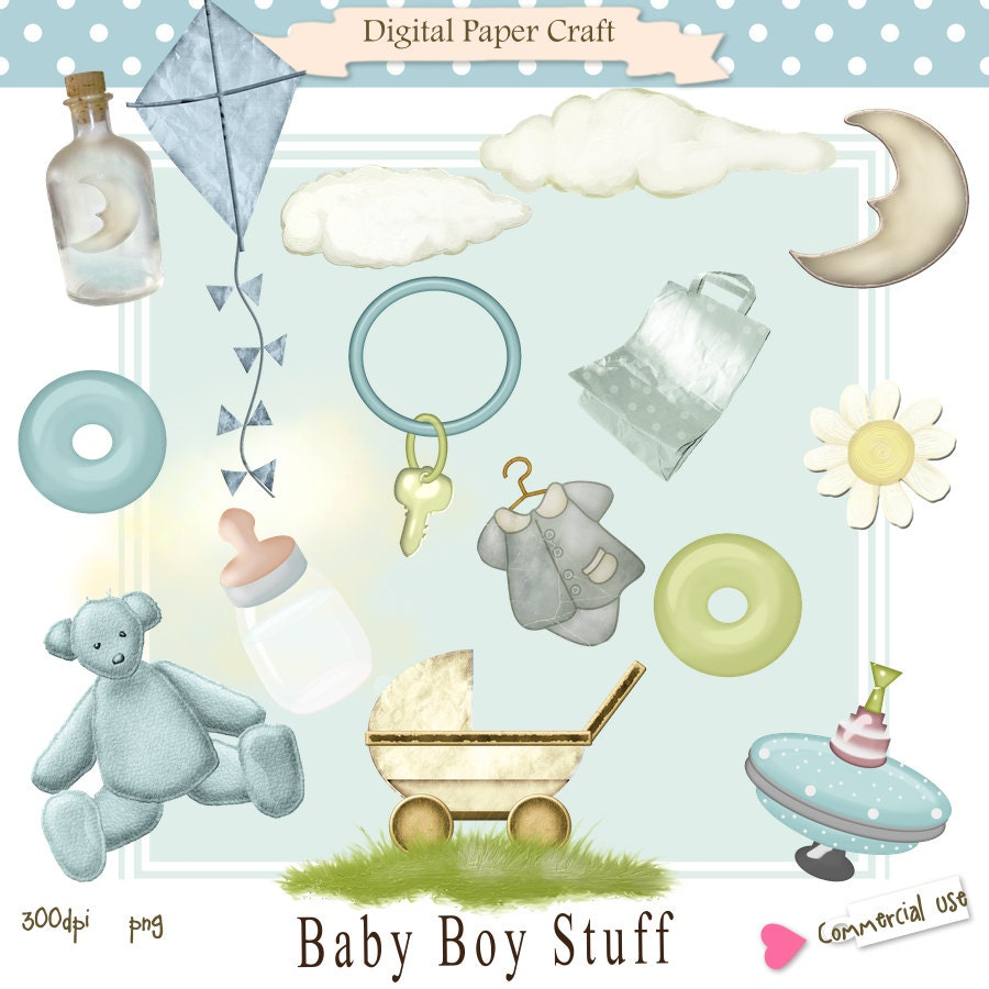 Clipart Baby Boy Stuff for Card Design by DigitalPaperCraft