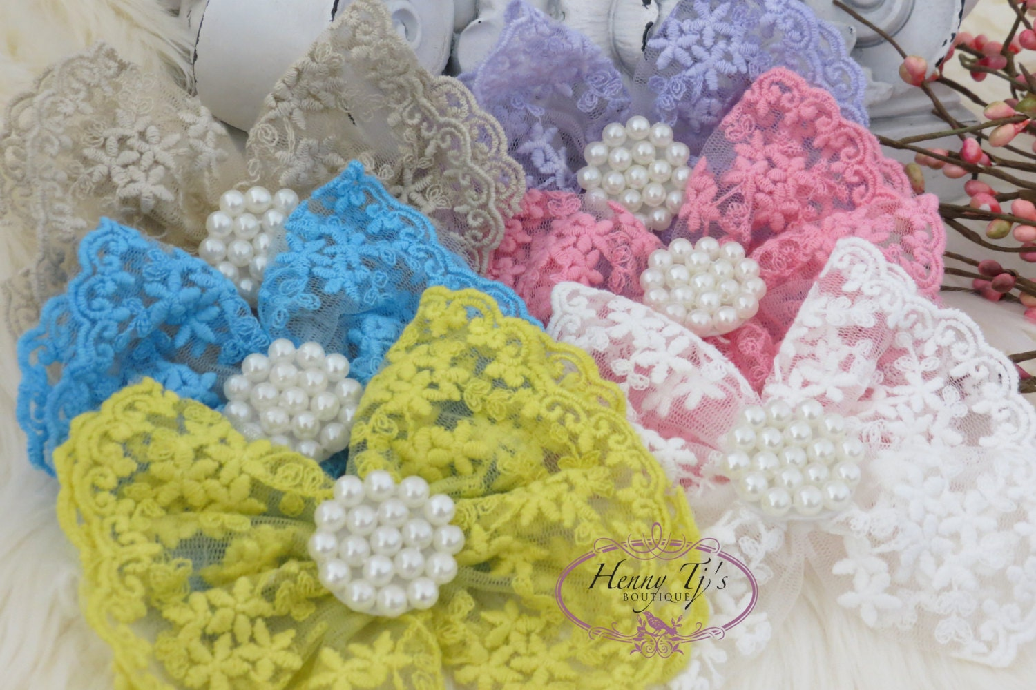 NEW: Set of 6 You Pick Colors - Quinlan Collection Beautiful Lace and Pearls Hair Bow Applique.Hair accessories.Bridal garter. Bridal Sash