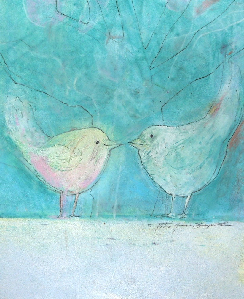 LOVE BIRDS art, Original Pastel drawing, WEDDING Painting, Blue Painting, pastel colors, fine art illustration, love couple, Nursery Decor - TeofanaART