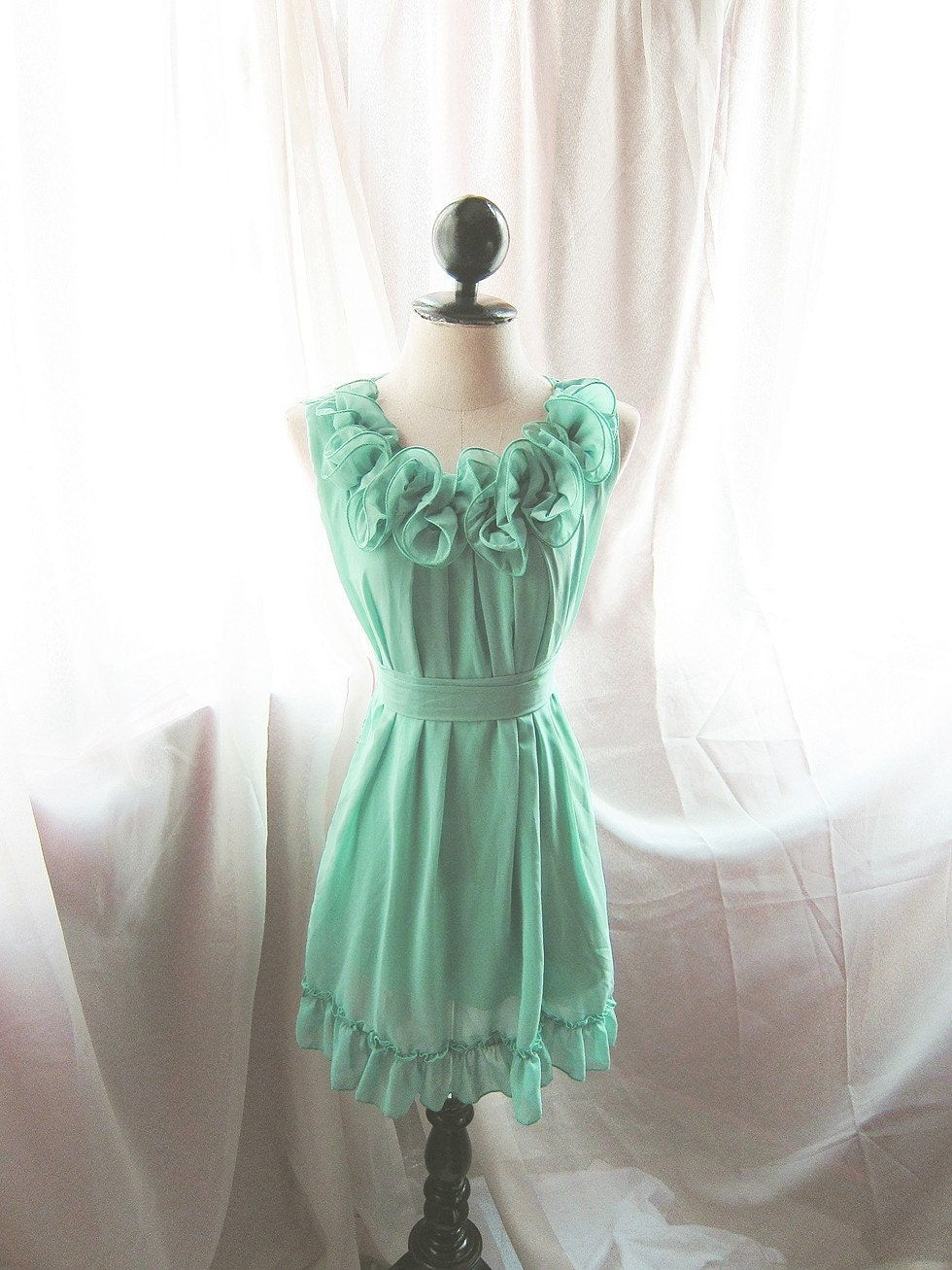 Minty Green Rose Rosette Bloom Secret Garden Alice in the Wonderland Tea Party Chiffon Ruffled Hem Dress