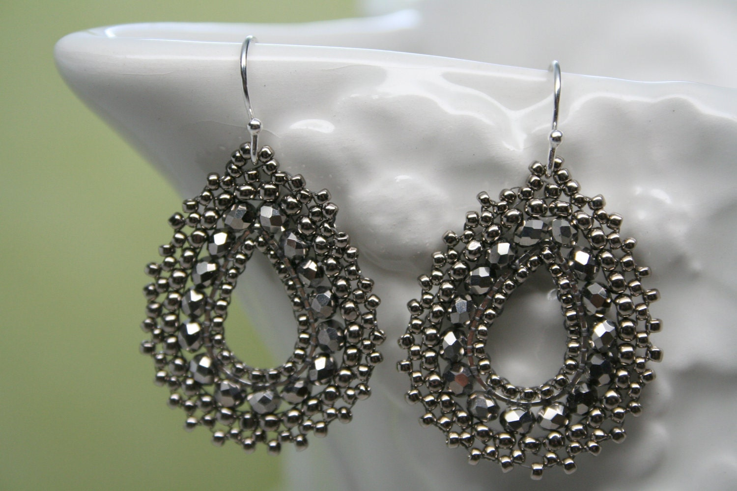 Silver Picot Sparkling Tear Drop Earrings