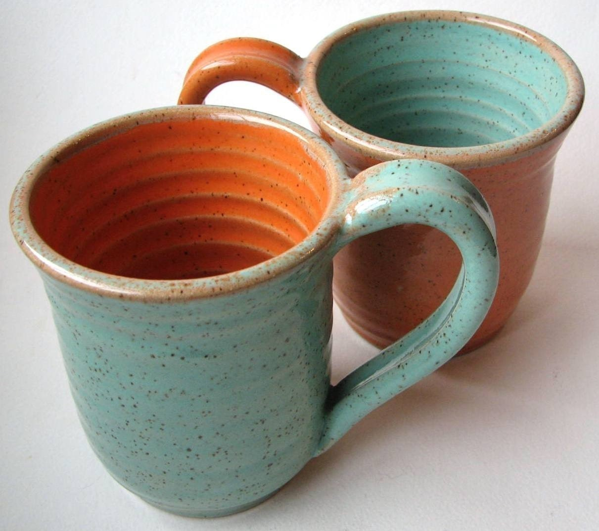 2 Mugs MADE TO ORDER Orange and Turquoise Mug and Turquoise and Orange Mug