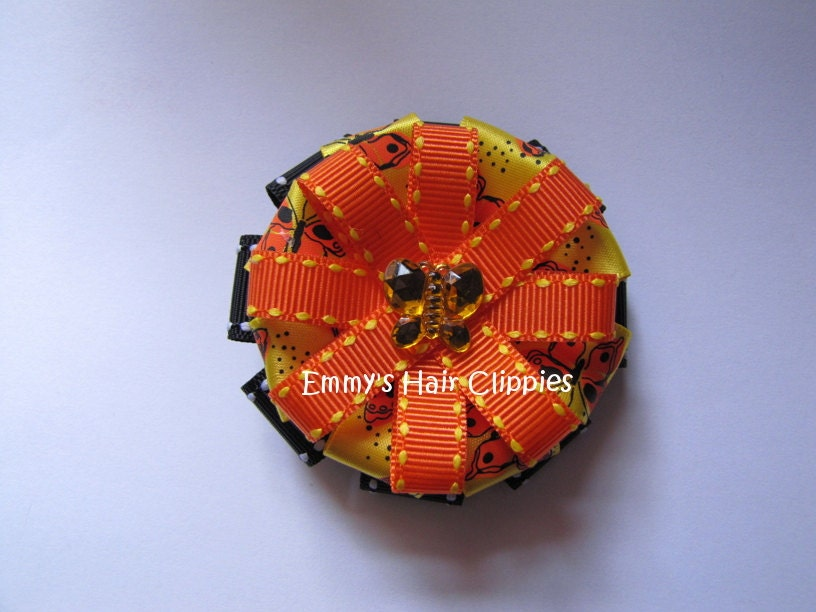 Monarch Butterfly Hair Bow Clippie - EmmysHairClippies
