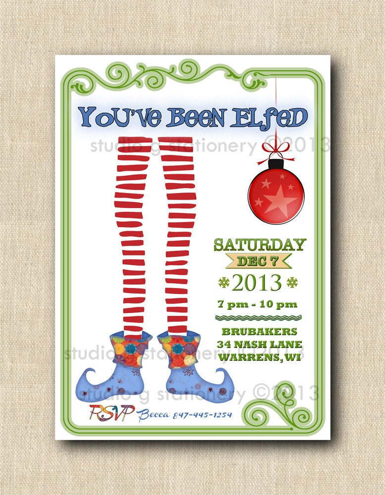 Items similar to You've Been Elfed! Party Invitations 12 ...