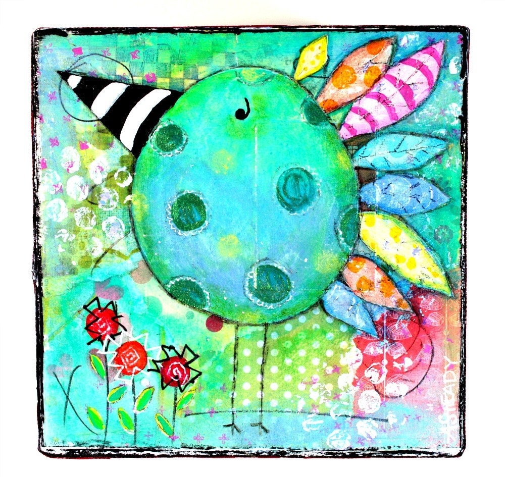 Original Whimsical Artwork Blue and Green Bird Large Gift Box on Etsy - Cottage Chic