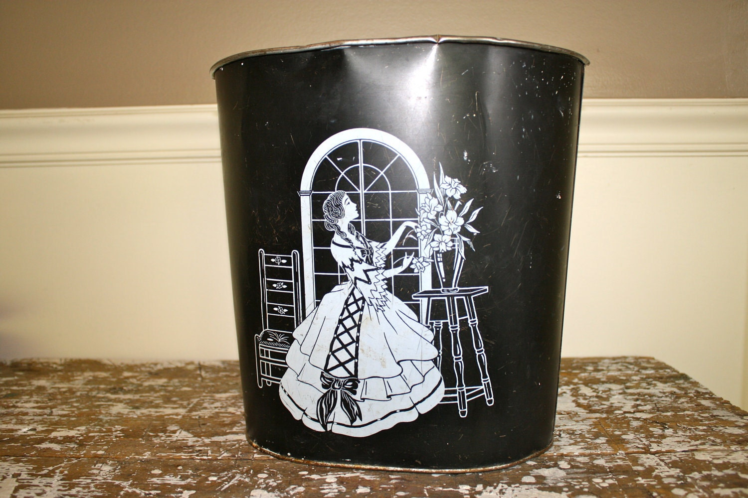 Metal garbage can waste paper basket art by for Art from waste paper
