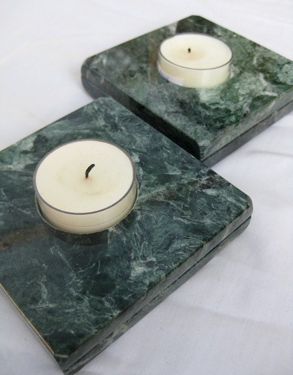 green marble candle holders